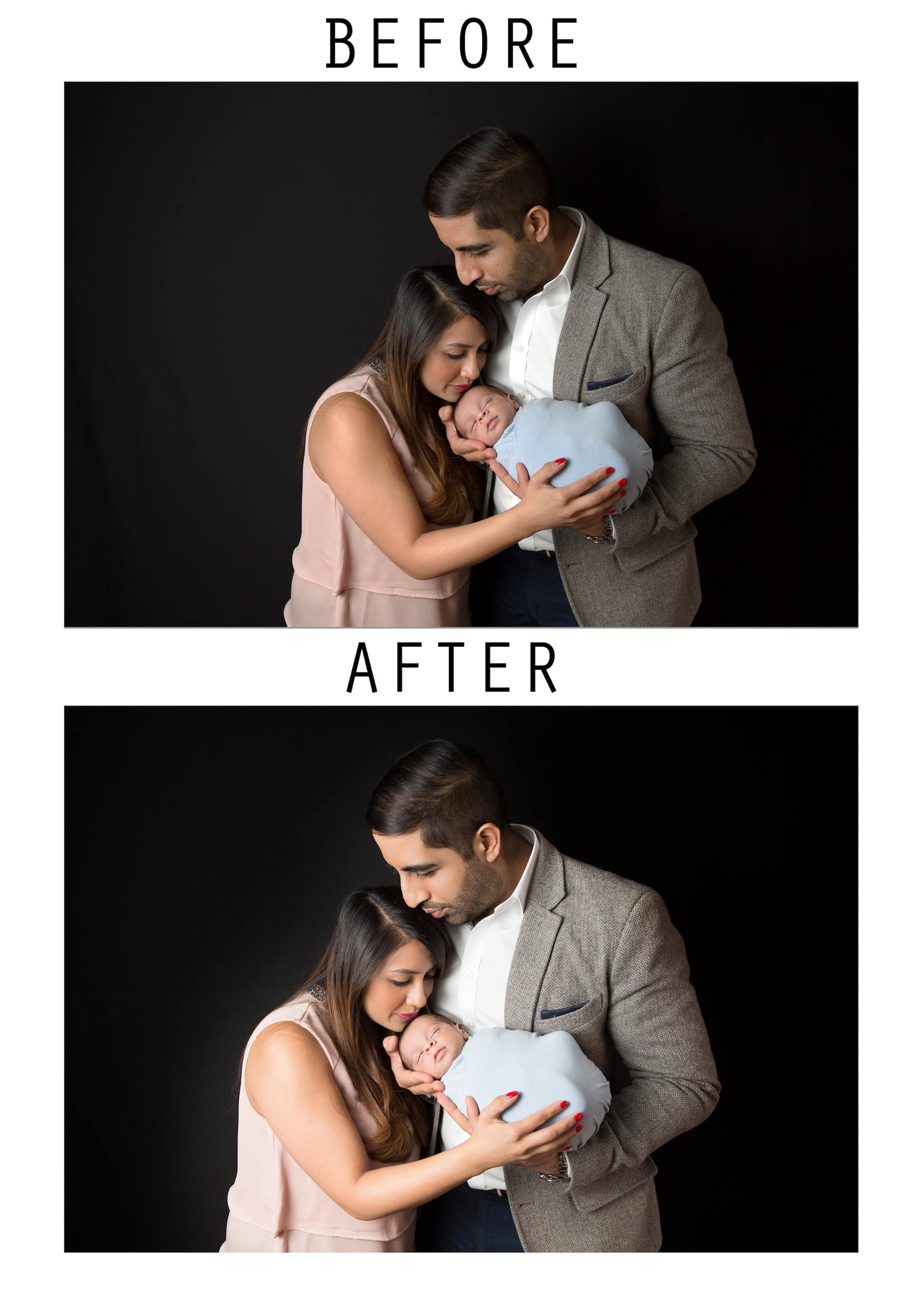 parents and newborn baby photography editing